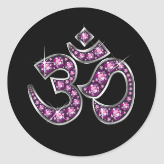 "Om Symbol with ""Garnet"" Stones Stickers"