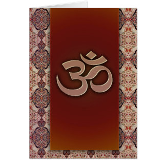 Om Symbol with Indian design background Greeting Card