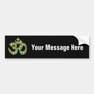 "Om Symbol with ""Peridot"" Stones Bumper Sticker"