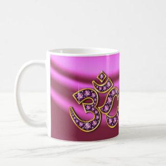 """Om Symbol with """"Rose Quartz"""" Stones Cup"""
