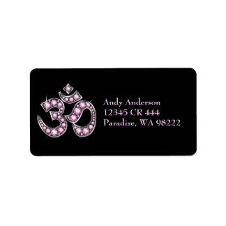 """Om Symbol with """"Rose Quartz"""" Stones Label"""
