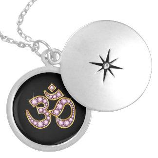 """Om Symbol with """"Rose Quartz"""" Stones Locket Necklace"""