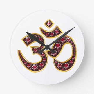 "Om Symbol with ""Ruby"" Stones Clock"
