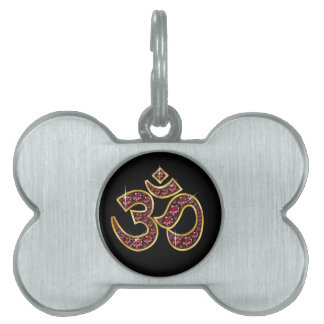 """Om Symbol with """"Ruby"""" Stones Pet ID Tag"""