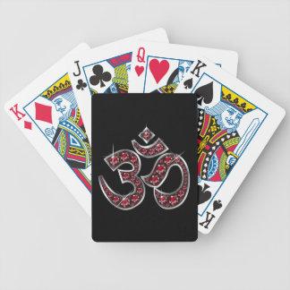 Om Symbol with Ruby Stones Card Decks
