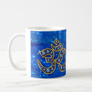 "Om Symbol with ""Sapphire"" Stones Cup Classic White Coffee Mug"