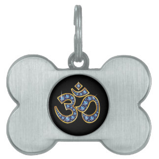 """Om Symbol with """"Sapphire"""" Stones Pet Tag"""