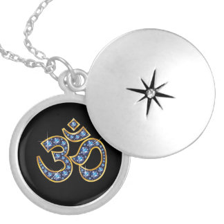 """Om Symbol with """"Sapphire"""" Stones Silver Plated Necklace"""