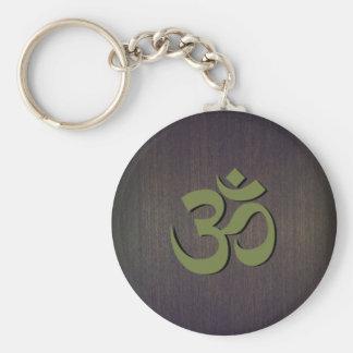 OM Symbol Wood Look Basic Round Button Keychain