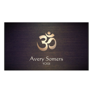 Om Symbol Yoga and Meditation Wood Look Business Card