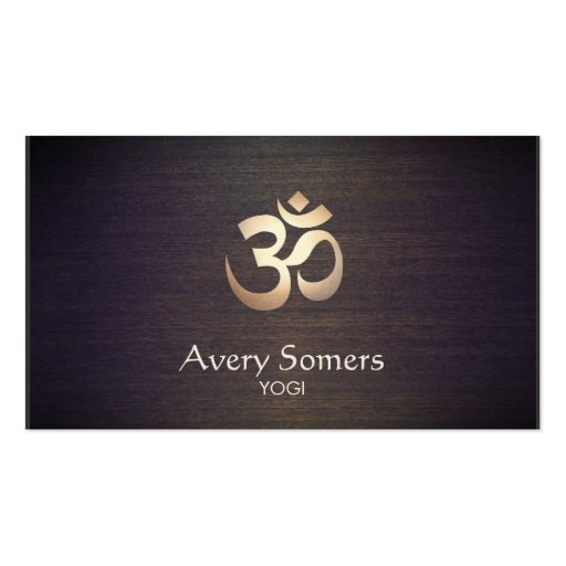 Om Symbol Yoga and Meditation Wood Look Business Card Templates