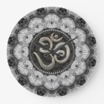 OM Symbol Yoga Black White Lace Mandala Clock Wallclock