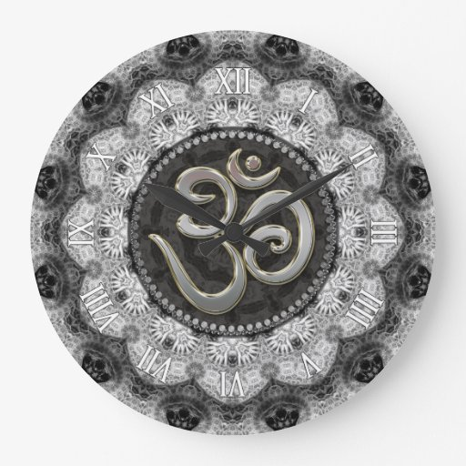 OM Symbol Yoga Black White Lace Mandala Clock
