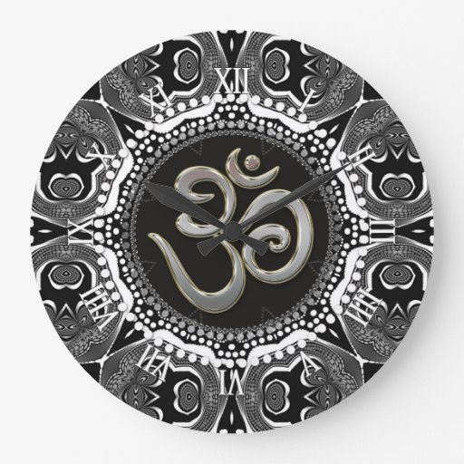 OM Symbol Yoga Black White Tribal Mandala Clock