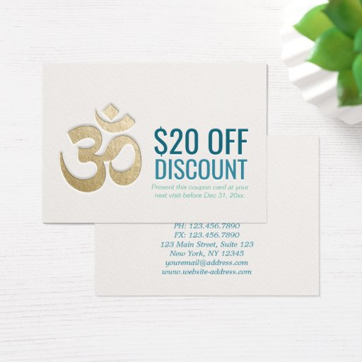 OM Symbol YOGA Instructor Discount Coupon Loyalty Business Card