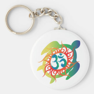Om-Tatto-Vibrant-Turtle Basic Round Button Keychain