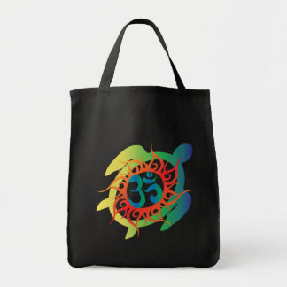 Om-Tatto-Vibrant-Turtle Tote Bag