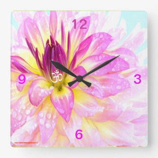OM THE CENTER OF ALL FLORAL YOGA WALL CLOCK