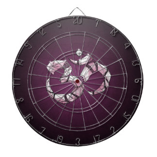 Om - the sound of the universe dartboard with darts