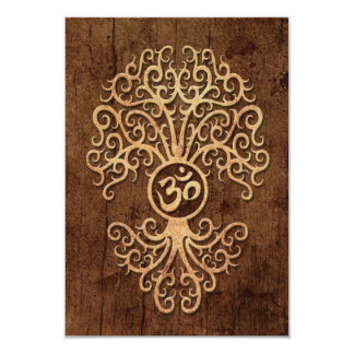 Om Tree with Wood Grain Effect Personalized Invite