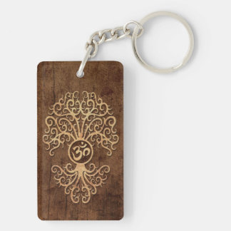 Om Tree with Wood Grain Effect Keychain