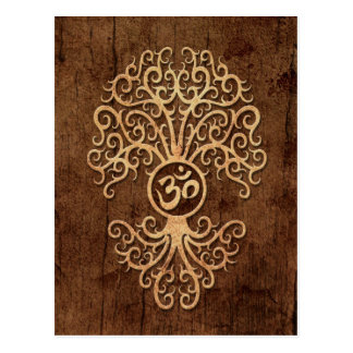Om Tree with Wood Grain Effect Postcards
