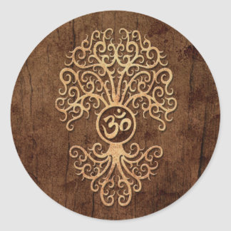 Om Tree with Wood Grain Effect Classic Round Sticker