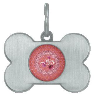 OM white pink damask Yoga Meditation Relaxation Pet Name Tag