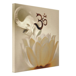 Om with lotus and elephant stretched canvas prints