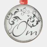 Om with Scrolls and Swirls Christmas Ornaments