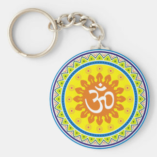 Om with Traditional Indian style Mandana Keychain