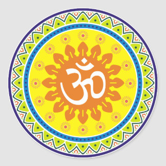 Om with Traditional Indian style Mandana Round Sticker