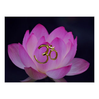 OM y la flor de loto Póster