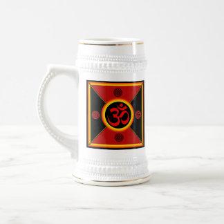 OM Yantra Red/Black/Gold Beer Stein