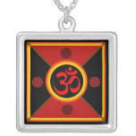 OM Yantra Red/Black/Gold Necklace