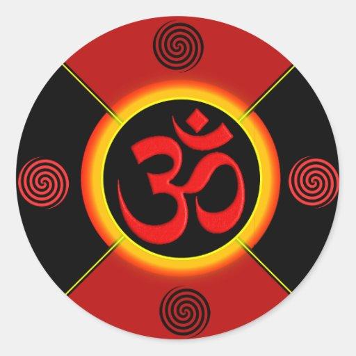 OM Yantra Red/Black/Gold Sticker
