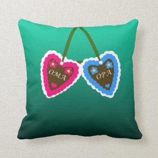 Oma and Opa Gingerbread Hearts  ~ Lebkuchenherzen Throw Pillow