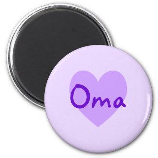 Oma en púrpura imán redondo 5 cm
