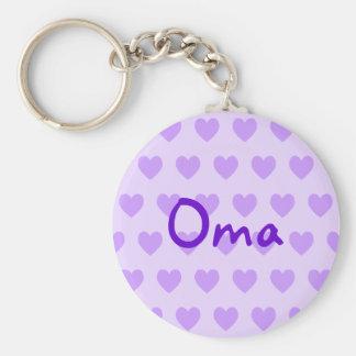 Oma en púrpura llavero redondo tipo pin