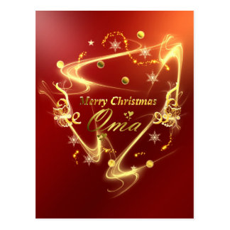 oma golden christmas text postcard