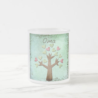 oma heart tree frosted glass coffee mug
