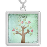 oma heart tree square pendant necklace