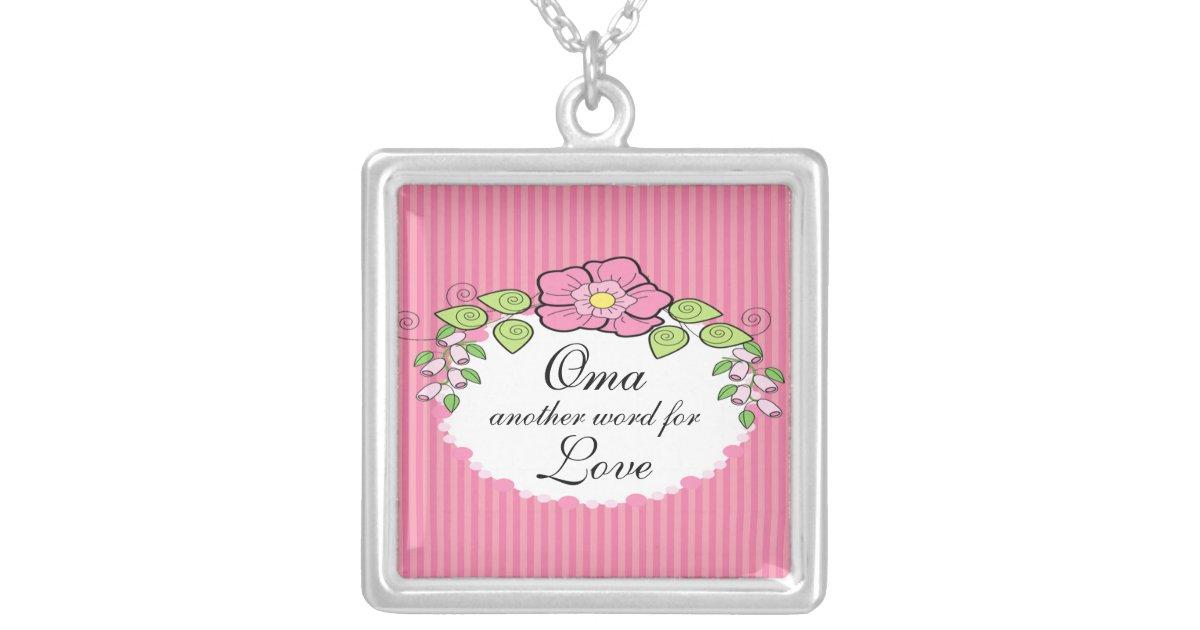 Oma Love Grandparent Necklace Floral Frame | Zazzle.com
