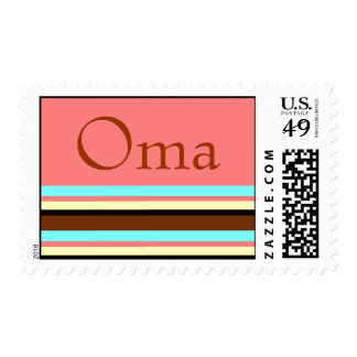 Oma - Stripes in brown, cream blue Postage