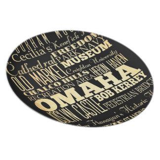 Omaha City of Nebraska State Typography Art Dinner Plate