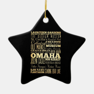 Omaha City of Nebraska State Typography Art Double-Sided Star Ceramic Christmas Ornament