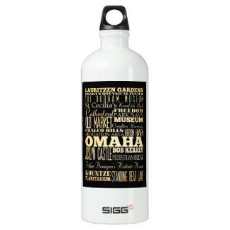 Omaha City of Nebraska State Typography Art Water Bottle