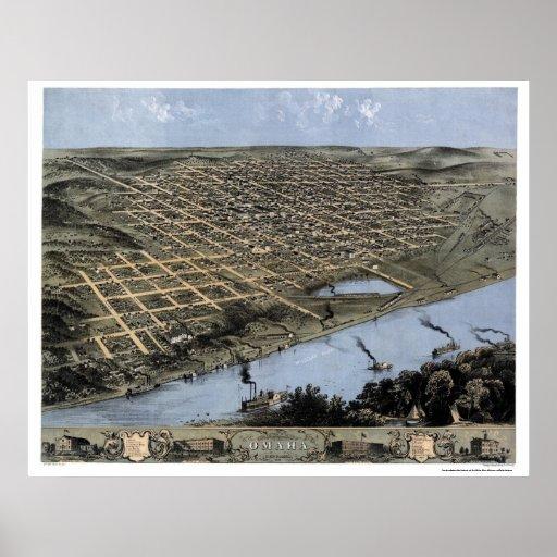 Omaha, mapa panorámico del NE - 1868 Posters