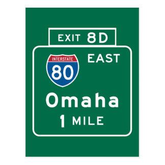 Omaha, NE Road Sign Postcard