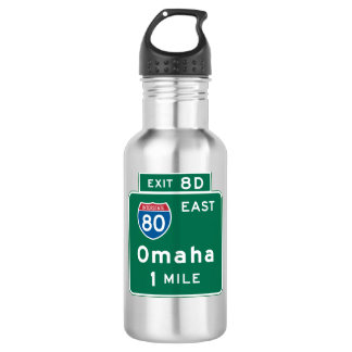 Omaha, NE Road Sign Stainless Steel Water Bottle